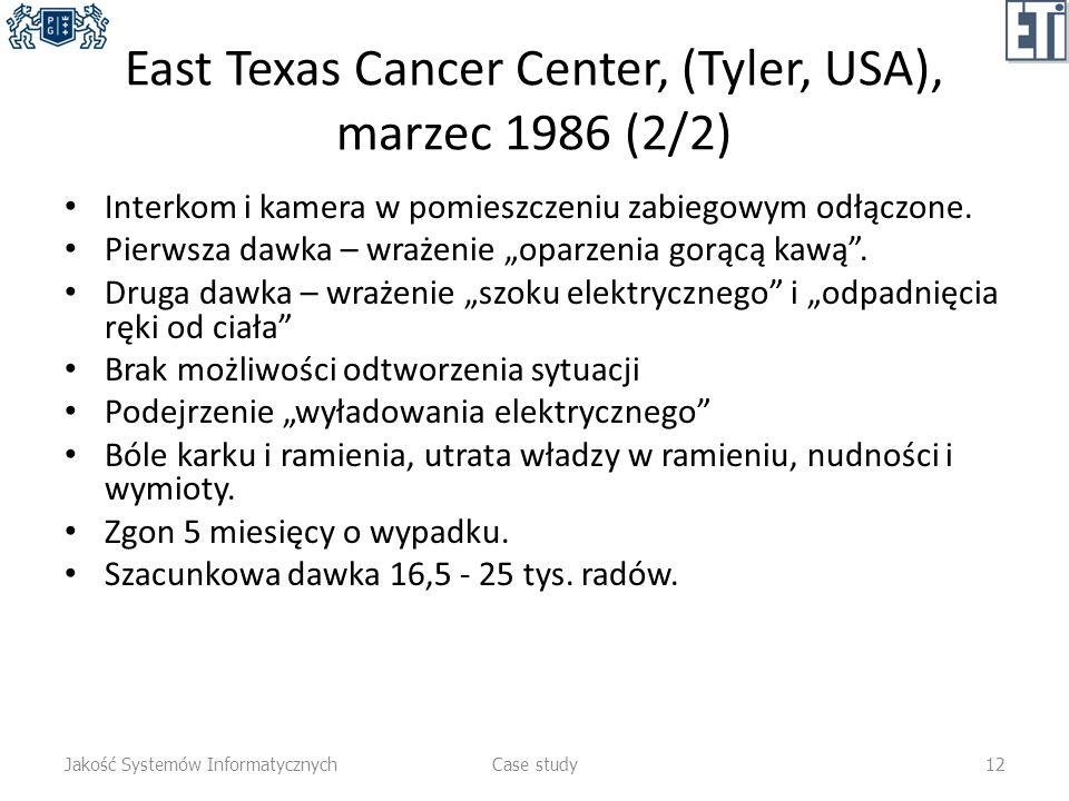 East Texas Cancer Center, (Tyler, USA), marzec 1986 (2/2) Interkom i kamera w pomieszczeniu zabiegowym odłączone. Pierwsza dawka – wrażenie oparzenia