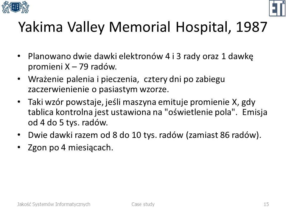Yakima Valley Memorial Hospital, 1987 Planowano dwie dawki elektronów 4 i 3 rady oraz 1 dawkę promieni X – 79 radów. Wrażenie palenia i pieczenia, czt