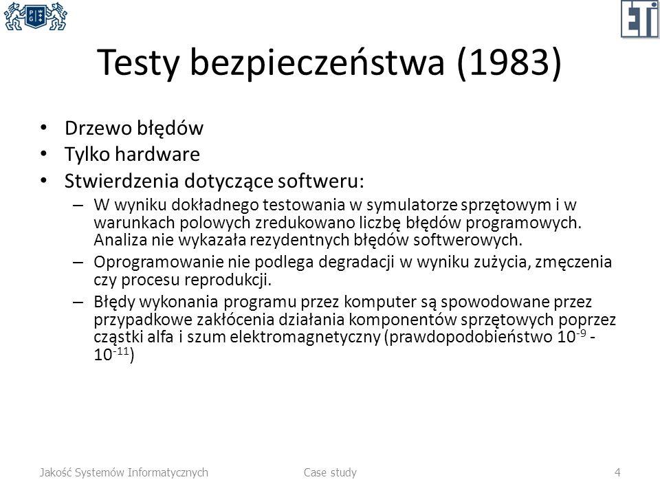 Testy bezpieczeństwa (1983) Drzewo błędów Tylko hardware Stwierdzenia dotyczące softweru: – W wyniku dokładnego testowania w symulatorze sprzętowym i