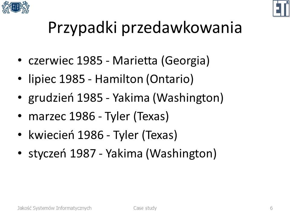 Przypadki przedawkowania czerwiec 1985 - Marietta (Georgia) lipiec 1985 - Hamilton (Ontario) grudzień 1985 - Yakima (Washington) marzec 1986 - Tyler (