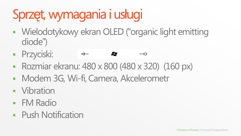 Windows Phone Microsoft Corporation. Sprz ę t, wymagania i us ł ugi Wielodotykowy ekran OLED ( organic light emitting diode ) Przyciski: Rozmiar ekran
