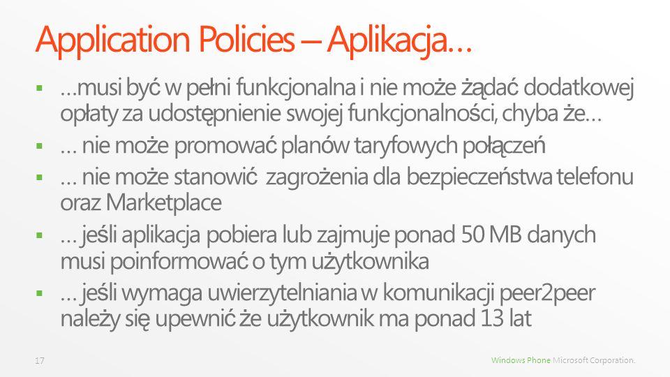 Windows Phone Microsoft Corporation. Application Policies – Aplikacja… …musi by ć w pe ł ni funkcjonalna i nie mo ż e żą da ć dodatkowej op ł aty za u