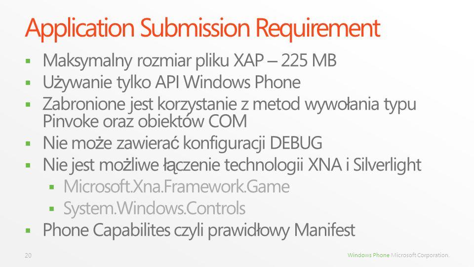 Windows Phone Microsoft Corporation. Application Submission Requirement Maksymalny rozmiar pliku XAP – 225 MB U ż ywanie tylko API Windows Phone Zabro