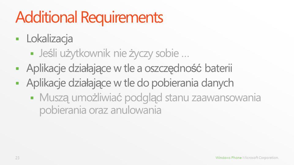 Windows Phone Microsoft Corporation. Additional Requirements Lokalizacja Je ś li u ż ytkownik nie ż yczy sobie … Aplikacje dzia ł aj ą ce w tle a oszc