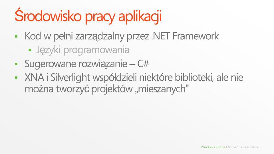 Windows Phone Microsoft Corporation. Ś rodowisko pracy aplikacji Kod w pe ł ni zarz ą dzalny przez.NET Framework J ę zyki programowania Sugerowane roz