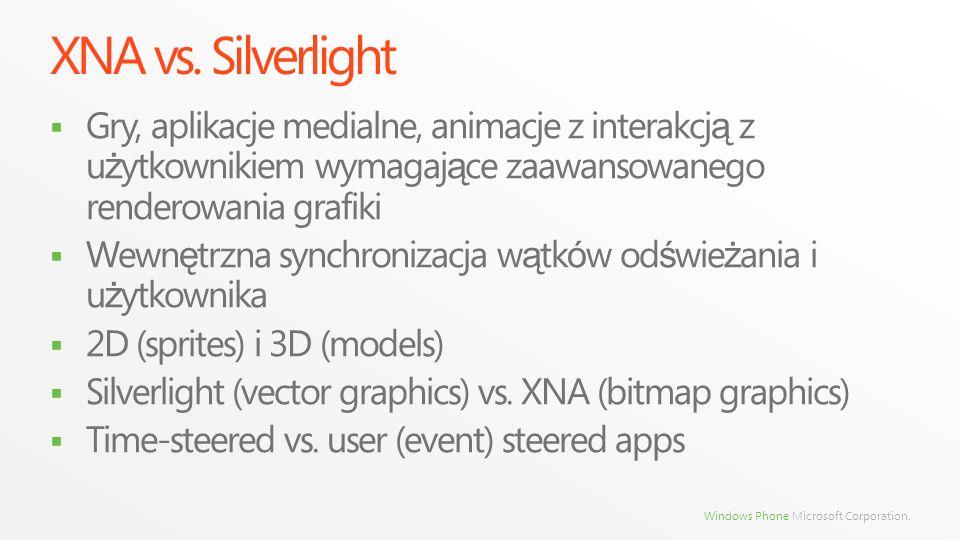 Windows Phone Microsoft Corporation. XNA vs. Silverlight Gry, aplikacje medialne, animacje z interakcj ą z u ż ytkownikiem wymagaj ą ce zaawansowanego