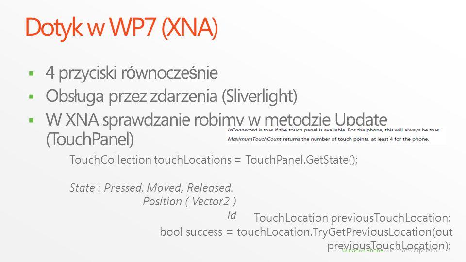Dotyk w WP7 (XNA) 4 przyciski r ó wnocze ś nie Obs ł uga przez zdarzenia (Sliverlight) W XNA sprawdzanie robimy w metodzie Update (TouchPanel) TouchCo