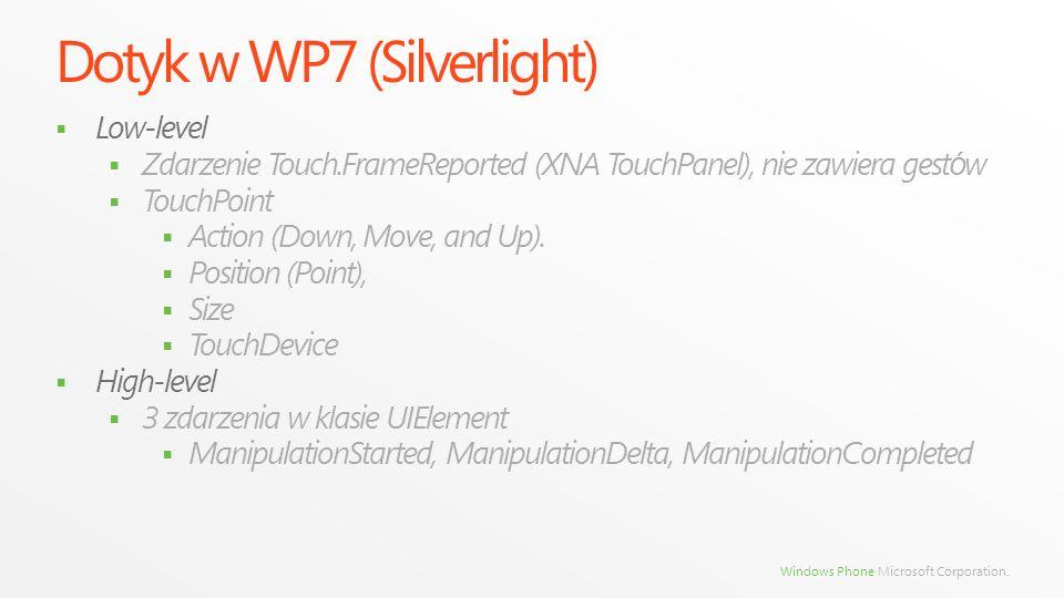 Windows Phone Microsoft Corporation. Dotyk w WP7 (Silverlight) Low-level Zdarzenie Touch.FrameReported (XNA TouchPanel), nie zawiera gest ó w TouchPoi