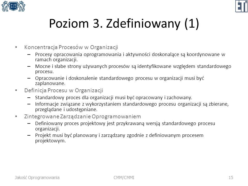 Poziom 3. Zdefiniowany (1) Koncentracja Procesów w Organizacji – Procesy opracowania oprogramowania i aktywności doskonalące są koordynowane w ramach