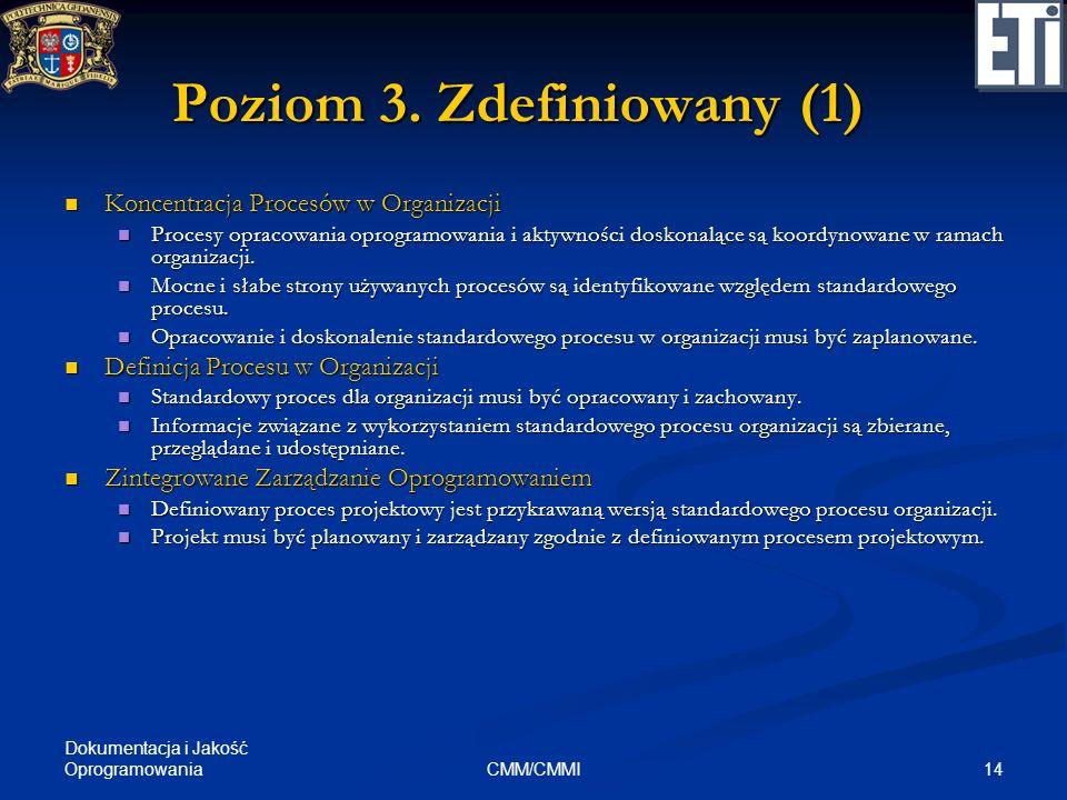 Dokumentacja i Jakość Oprogramowania 14CMM/CMMI Poziom 3. Zdefiniowany (1) Koncentracja Procesów w Organizacji Koncentracja Procesów w Organizacji Pro