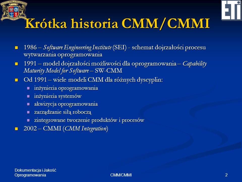 2CMM/CMMI Krótka historia CMM/CMMI 1986 – Software Engineering Institute (SEI) - schemat dojrzałości procesu wytwarzania oprogramowania 1986 – Softwar