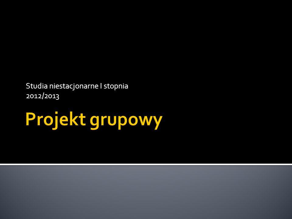Studia niestacjonarne I stopnia 2012/2013