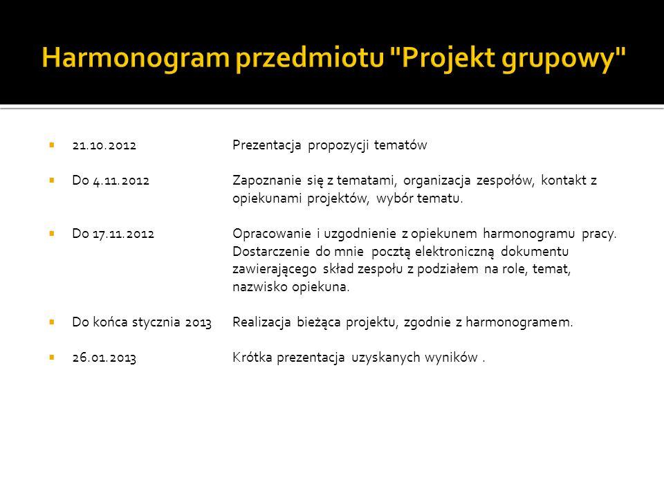 21.10.2012 Do 4.11.2012 Do 17.11.2012 Do końca stycznia 2013 26.01.2013 Prezentacja propozycji tematów Zapoznanie się z tematami, organizacja zespołów, kontakt z opiekunami projektów, wybór tematu.