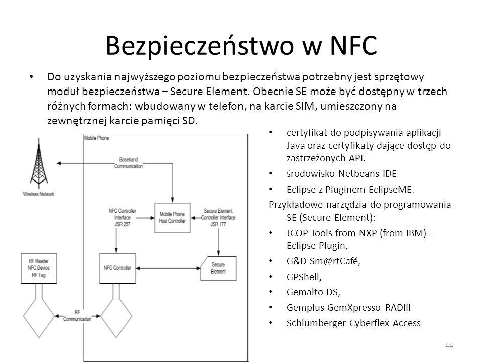 Bezpieczeństwo w NFC Do uzyskania najwyższego poziomu bezpieczeństwa potrzebny jest sprzętowy moduł bezpieczeństwa – Secure Element. Obecnie SE może b