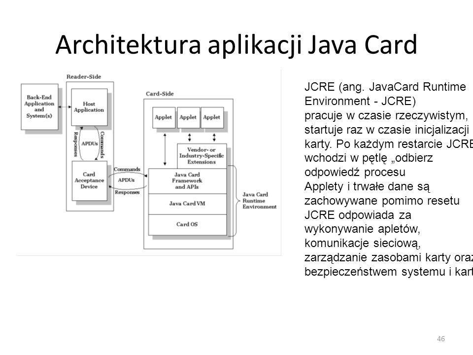 Architektura aplikacji Java Card JCRE (ang. JavaCard Runtime Environment - JCRE) pracuje w czasie rzeczywistym, startuje raz w czasie inicjalizacji ka