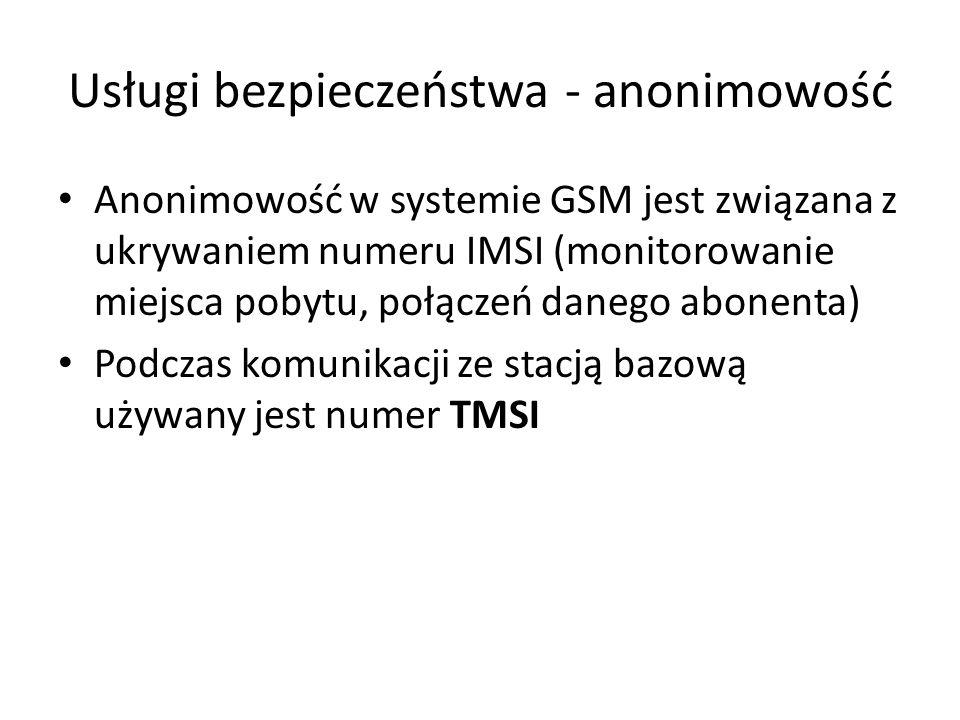 Usługi bezpieczeństwa - anonimowość Anonimowość w systemie GSM jest związana z ukrywaniem numeru IMSI (monitorowanie miejsca pobytu, połączeń danego a