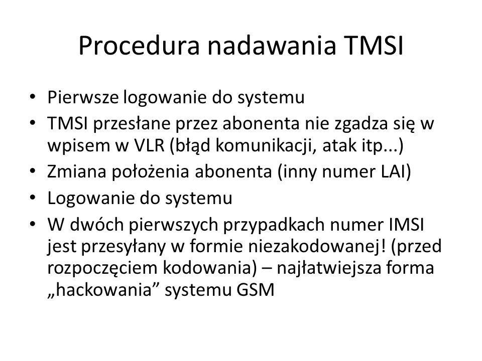 Procedura nadawania TMSI Pierwsze logowanie do systemu TMSI przesłane przez abonenta nie zgadza się w wpisem w VLR (błąd komunikacji, atak itp...) Zmi