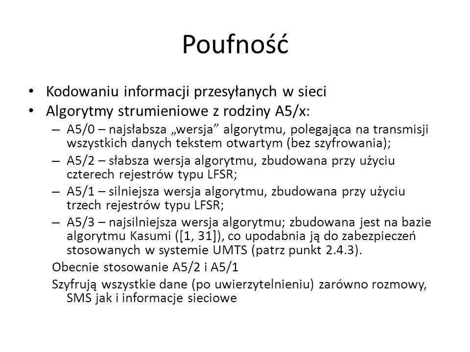 Poufność Kodowaniu informacji przesyłanych w sieci Algorytmy strumieniowe z rodziny A5/x: – A5/0 – najsłabsza wersja algorytmu, polegająca na transmis