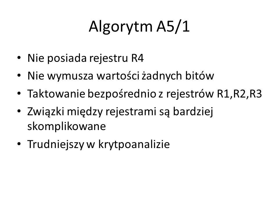 Algorytm A5/1 Nie posiada rejestru R4 Nie wymusza wartości żadnych bitów Taktowanie bezpośrednio z rejestrów R1,R2,R3 Związki między rejestrami są bar