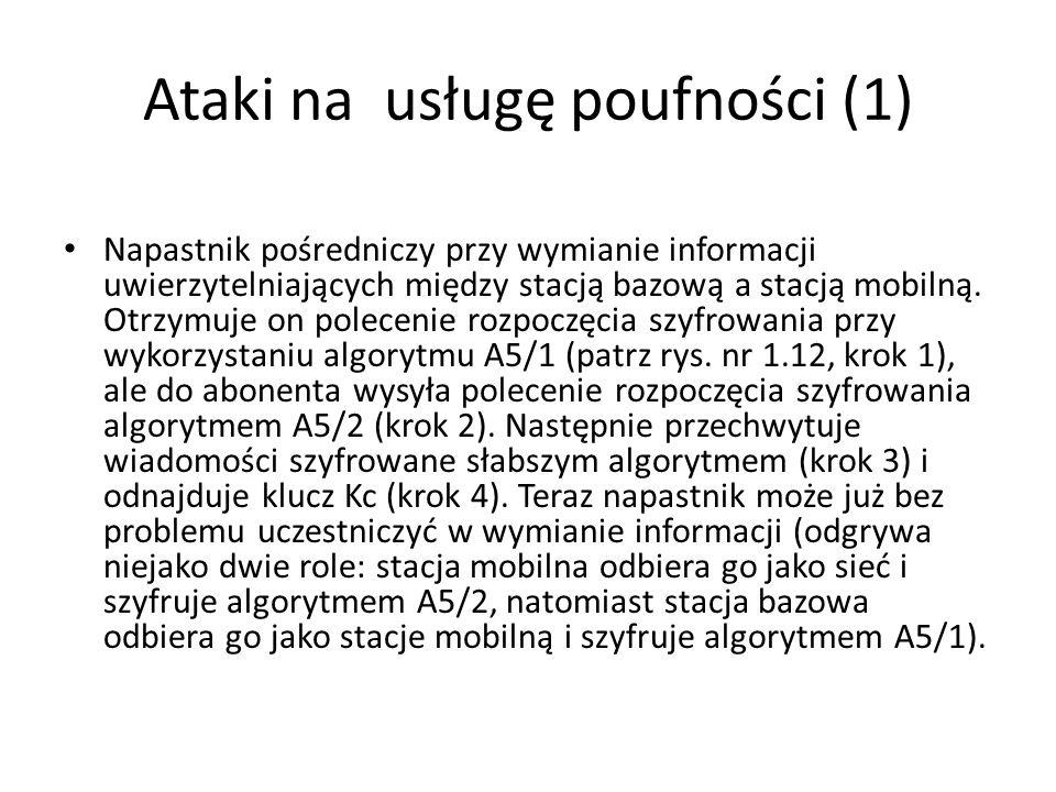 Ataki na usługę poufności (1) Napastnik pośredniczy przy wymianie informacji uwierzytelniających między stacją bazową a stacją mobilną. Otrzymuje on p