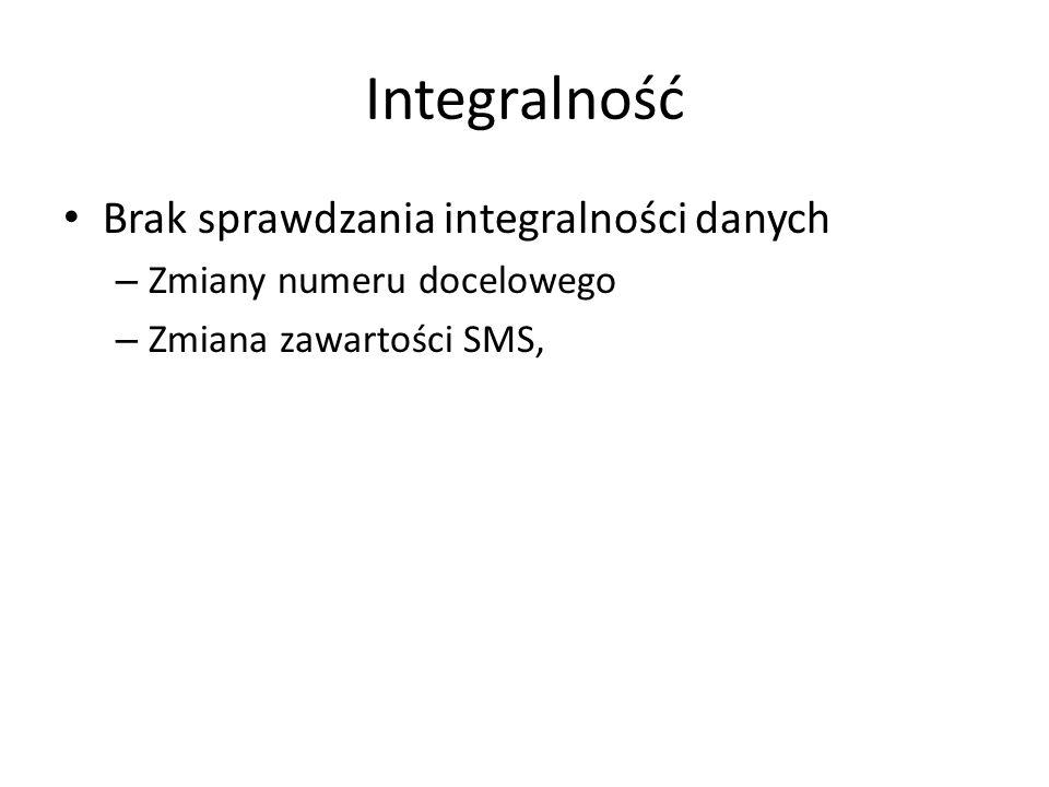 Integralność Brak sprawdzania integralności danych – Zmiany numeru docelowego – Zmiana zawartości SMS,