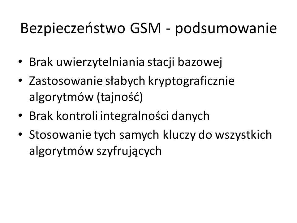 Bezpieczeństwo GSM - podsumowanie Brak uwierzytelniania stacji bazowej Zastosowanie słabych kryptograficznie algorytmów (tajność) Brak kontroli integr