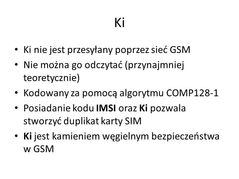 Ki Ki nie jest przesyłany poprzez sieć GSM Nie można go odczytać (przynajmniej teoretycznie) Kodowany za pomocą algorytmu COMP128-1 Posiadanie kodu IM