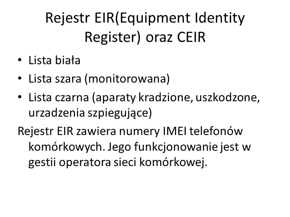 Rejestr EIR(Equipment Identity Register) oraz CEIR Lista biała Lista szara (monitorowana) Lista czarna (aparaty kradzione, uszkodzone, urzadzenia szpi