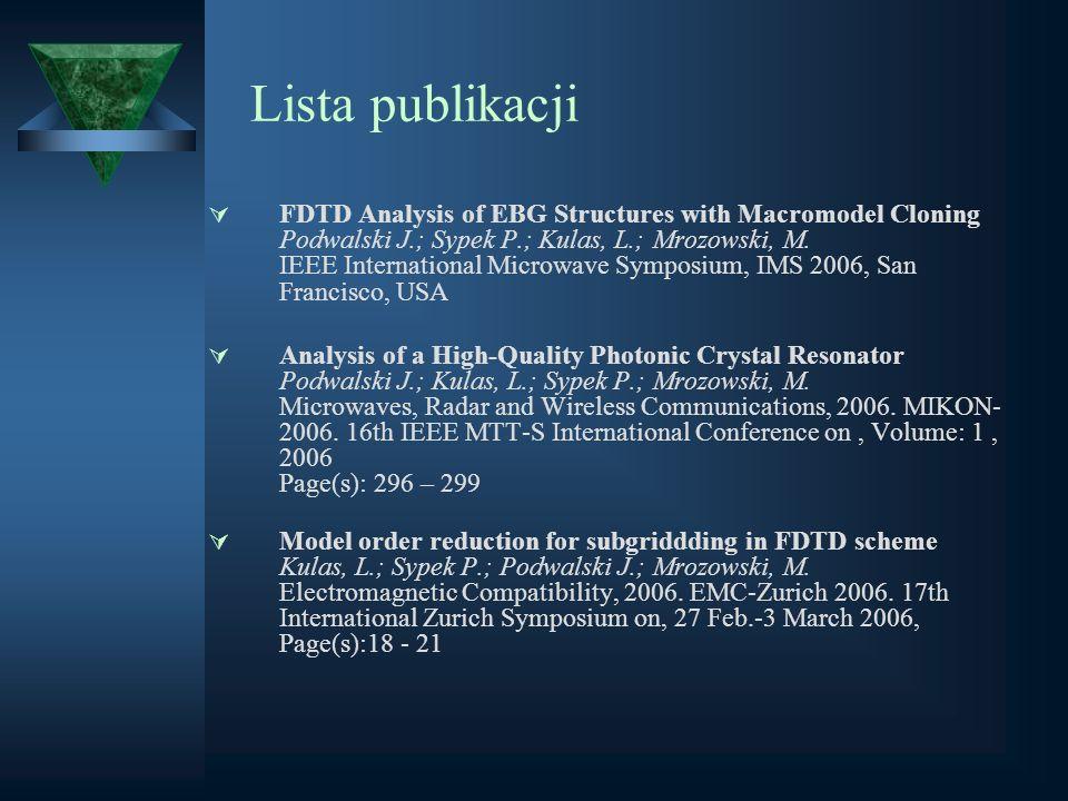 Lista publikacji FDTD Analysis of EBG Structures with Macromodel Cloning Podwalski J.; Sypek P.; Kulas, L.; Mrozowski, M. IEEE International Microwave