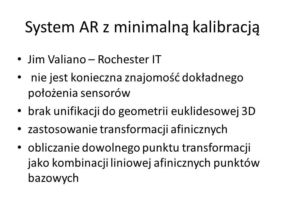 System AR z minimalną kalibracją Jim Valiano – Rochester IT nie jest konieczna znajomość dokładnego położenia sensorów brak unifikacji do geometrii eu
