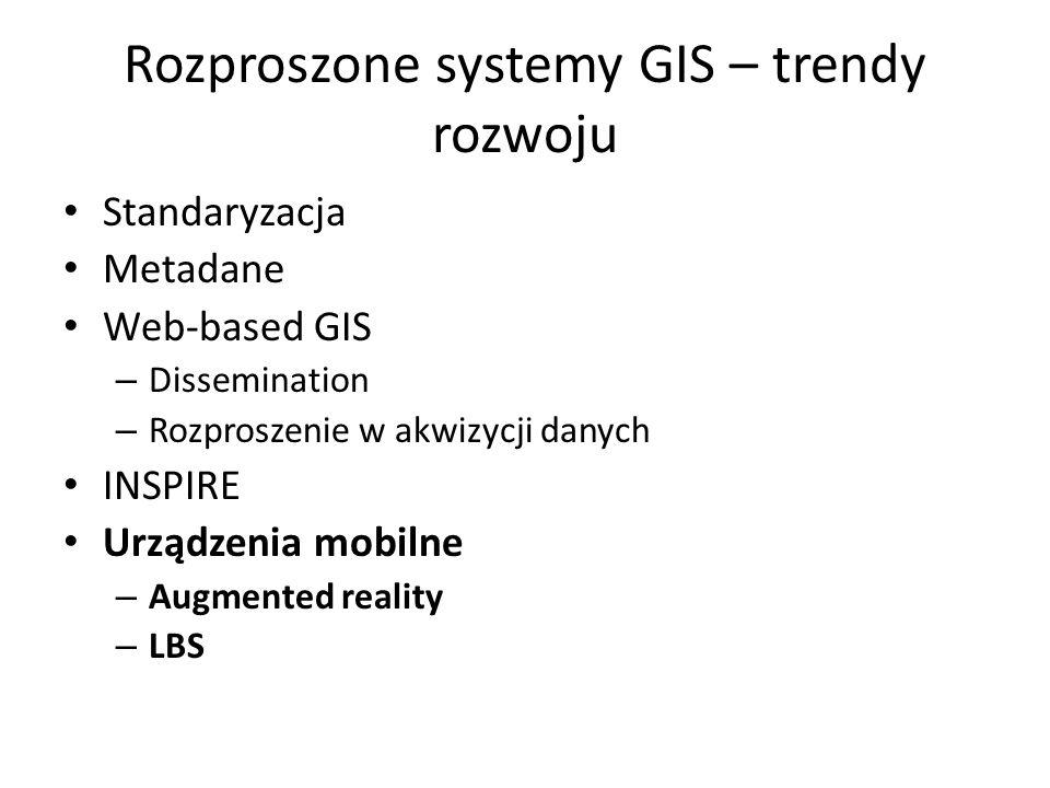 Rozproszone systemy GIS – trendy rozwoju Standaryzacja Metadane Web-based GIS – Dissemination – Rozproszenie w akwizycji danych INSPIRE Urządzenia mob