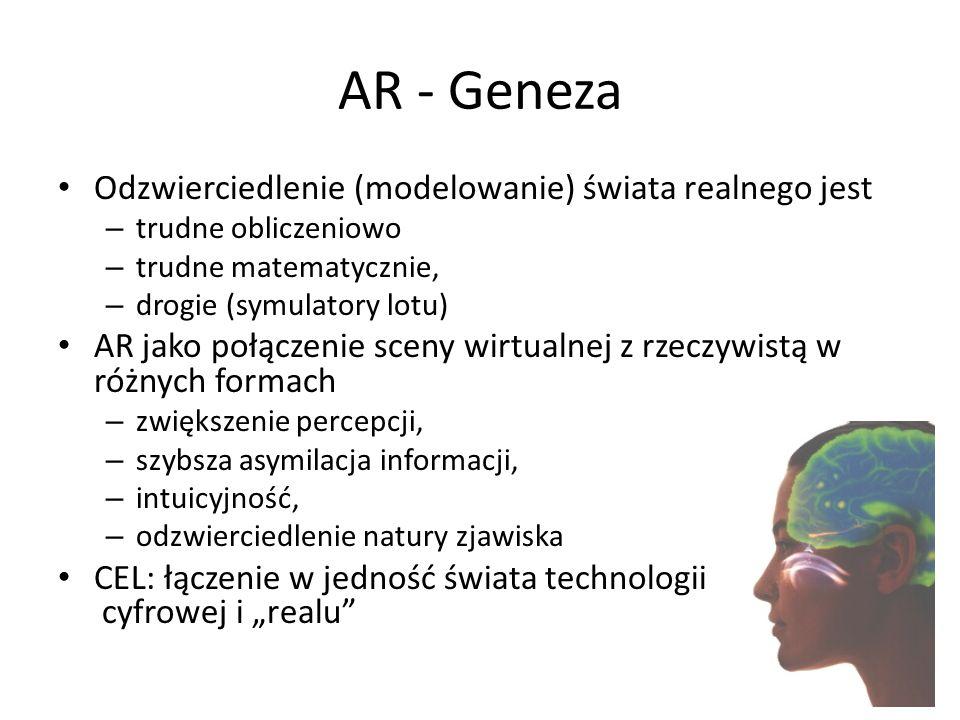 Virtual Reality (VR) Prekursor AR, Jaron Lanier (VPL Research,1992): – 3D – Interakcja – Osadzenie użytkownika (widza) Przykład (hełmy, okulary) – dźwięk, obraz, ruchu Milgram and Kishino 1994; Milgram, Takemura et al.
