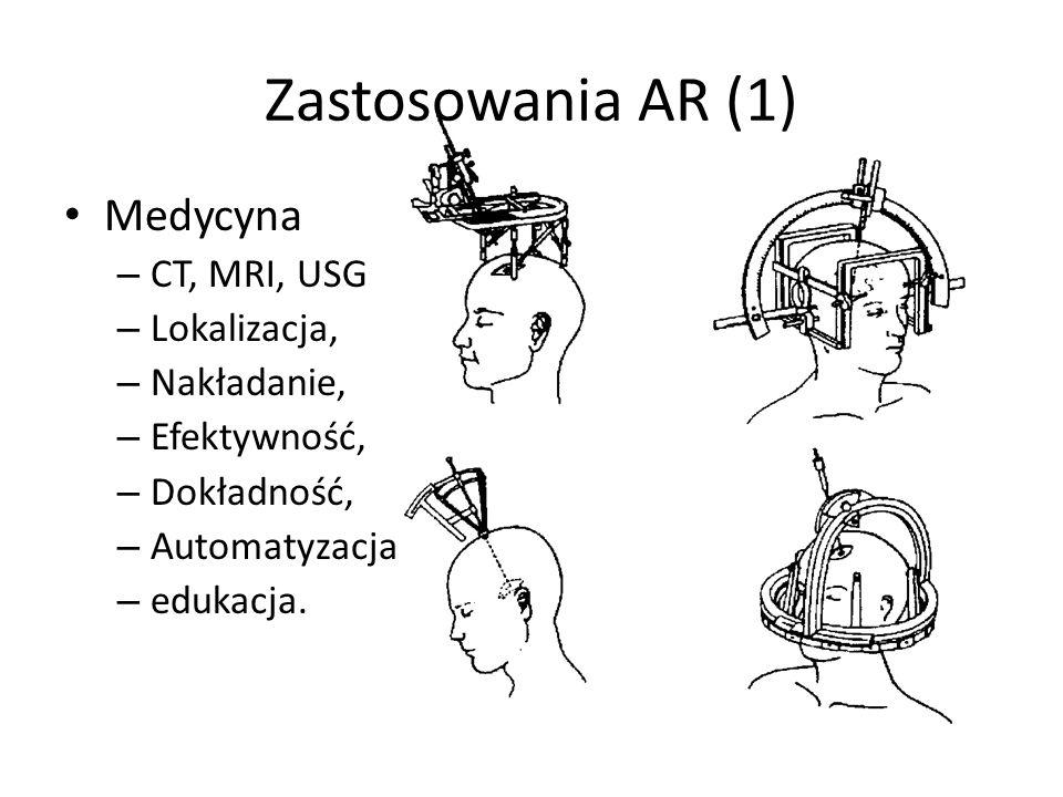 Zastosowania AR (1) Medycyna – CT, MRI, USG – Lokalizacja, – Nakładanie, – Efektywność, – Dokładność, – Automatyzacja – edukacja.