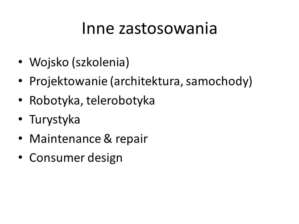 Inne zastosowania Wojsko (szkolenia) Projektowanie (architektura, samochody) Robotyka, telerobotyka Turystyka Maintenance & repair Consumer design