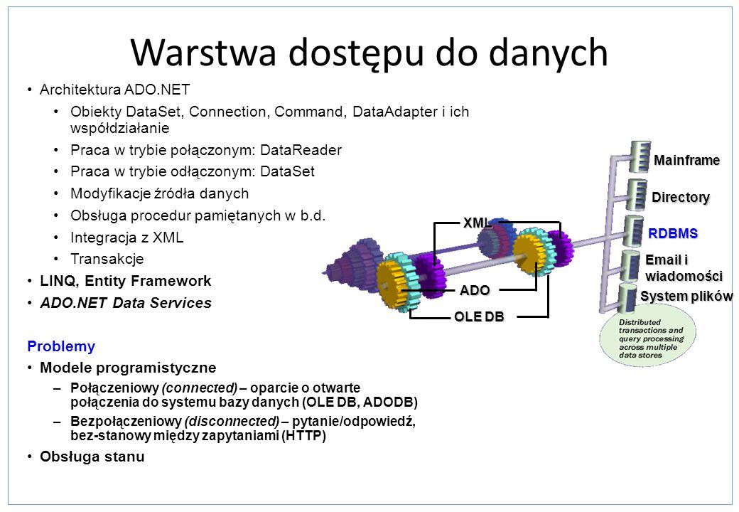 Tryb połączeniowy W modelu klient – serwer każdy klient łączy się z bazą podczas startu aplikacji i zwalnia połączenie podczas jej zamykania Serwer musi utrzymywać oddzielne połączenia dla każego klienta Klienci Połączenia Serwer busy idle Możliwe niepotrzebne zużycie zasobów Tabele Wyniki zapytania Kursor rs Klient Serwer Serwery bazodanowe zapewniają dostęp do kursora przechowującego stan aktualnego wiersza –Dostęp do danych –Przesuwanie się przez MoveNext oraz MovePrevious