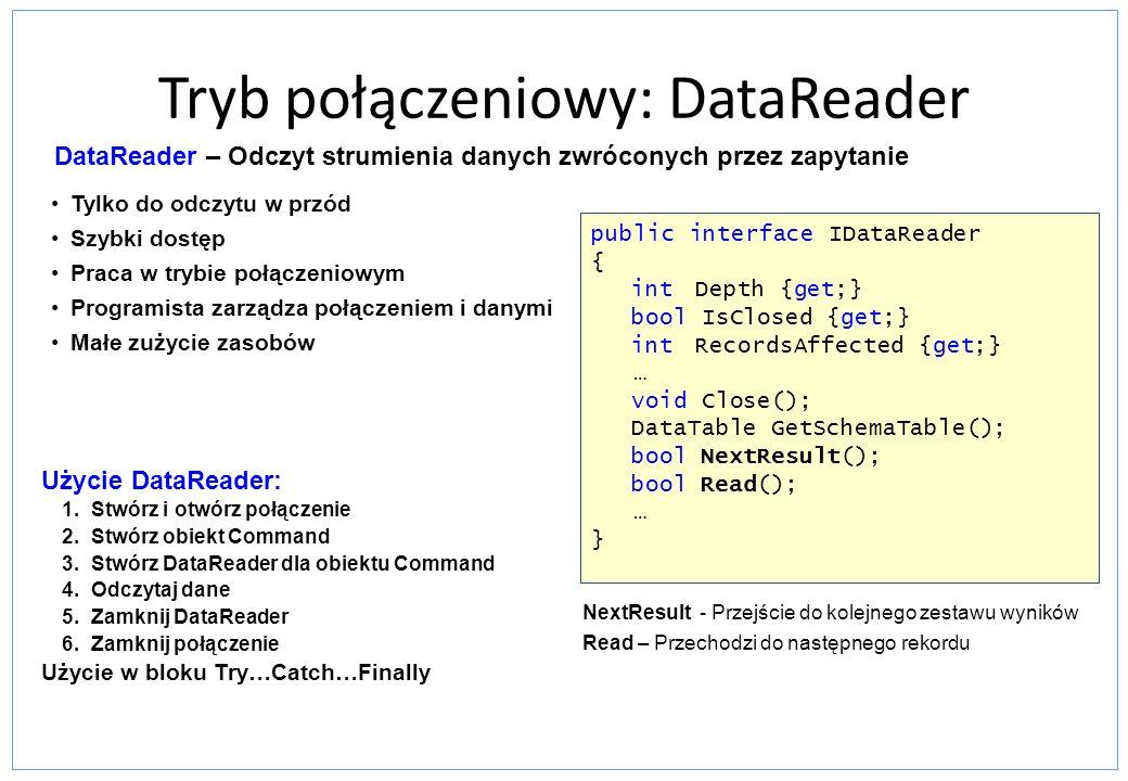 Tryb połączeniowy: DataReader Tylko do odczytu w przód Szybki dostęp Praca w trybie połączeniowym Programista zarządza połączeniem i danymi Małe zużyc