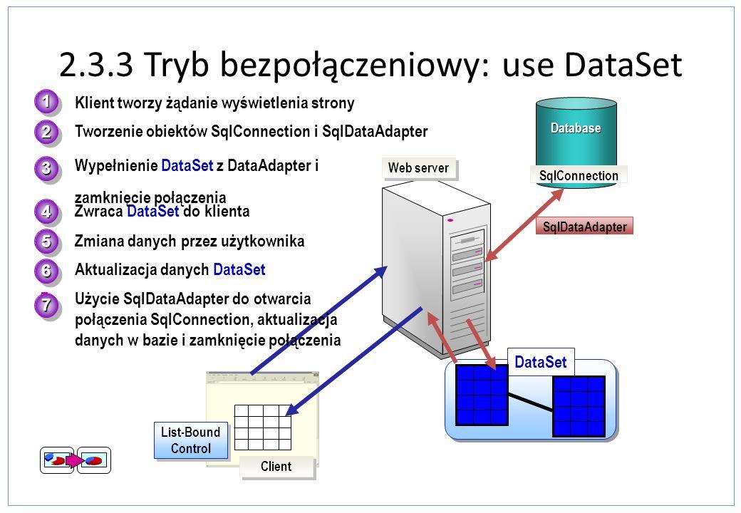 2.3.3 Tryb bezpołączeniowy: use DataSet Database 4.Zwraca DataSet do klienta 5.Zmiana danych przez użytkownika 2.Tworzenie obiektów SqlConnection i Sq