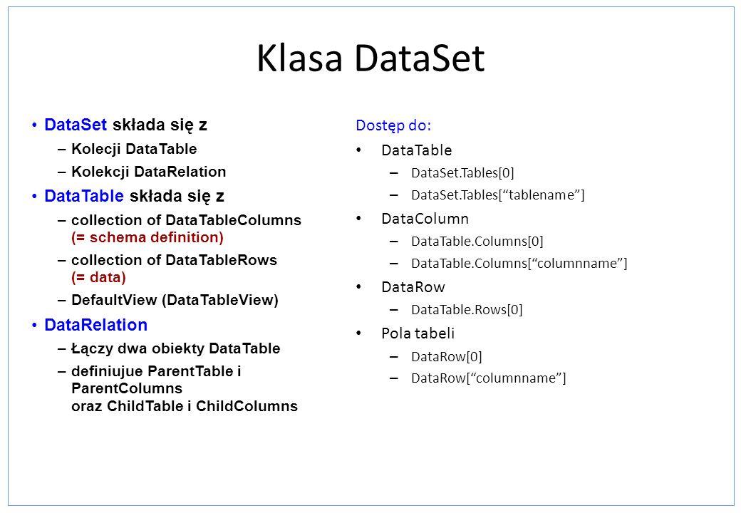 Klasa DataSet Dostęp do: DataTable – DataSet.Tables[0] – DataSet.Tables[tablename] DataColumn – DataTable.Columns[0] – DataTable.Columns[columnname] D