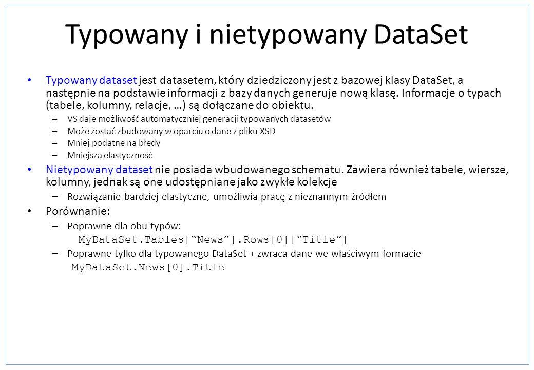 Typowany i nietypowany DataSet Typowany dataset jest datasetem, który dziedziczony jest z bazowej klasy DataSet, a następnie na podstawie informacji z