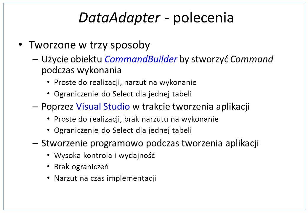DataAdapter - polecenia Tworzone w trzy sposoby – Użycie obiektu CommandBuilder by stworzyć Command podczas wykonania Proste do realizacji, narzut na