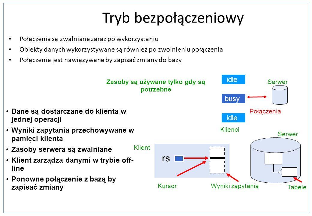 Tryb bezpołączeniowy Mniejsze zużycie zasobów serwera Modyfikacja danych jest szybsza i bardziej elastyczna Dane nie związane z połączeniem Łatwe przekazywanie między warstwami Wykorzystywane w aplikacjach wielowarstwowych oraz webowych Otwieranie i zamykanie połączeń jest kosztowne Wczytywanie dużych ilości danych jest czasochłonne Zużycie zasobów po stronie klienta Mniej opcji zarządzania bezpieczeńswem Zalety Wady