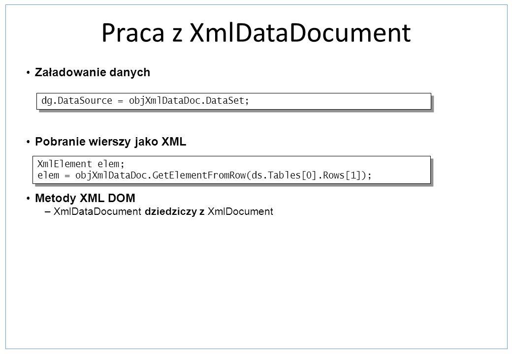 Praca z XmlDataDocument Załadowanie danych Pobranie wierszy jako XML Metody XML DOM –XmlDataDocument dziedziczy z XmlDocument XmlElement elem; elem =