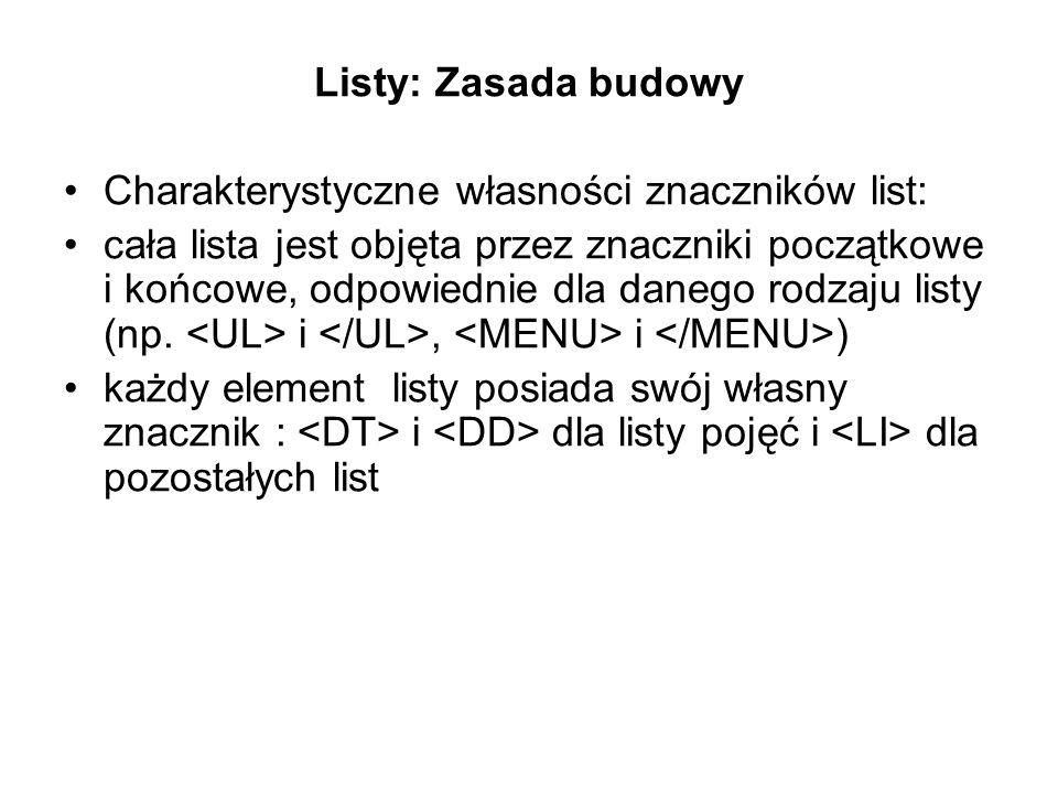 Listy: Zasada budowy Charakterystyczne własności znaczników list: cała lista jest objęta przez znaczniki początkowe i końcowe, odpowiednie dla danego rodzaju listy (np.