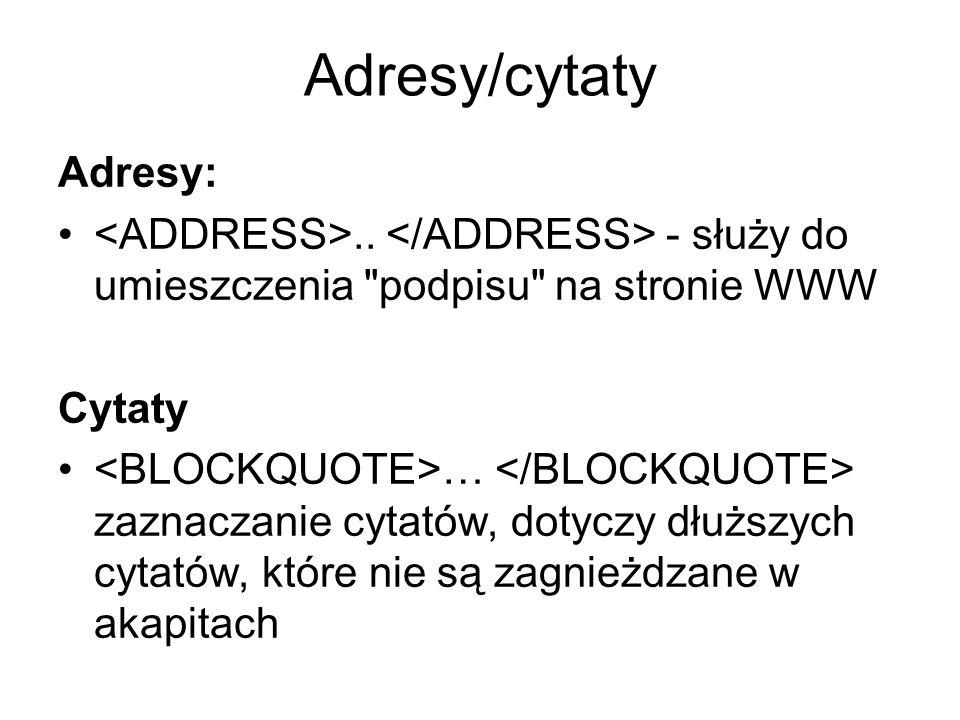 Adresy/cytaty Adresy:..