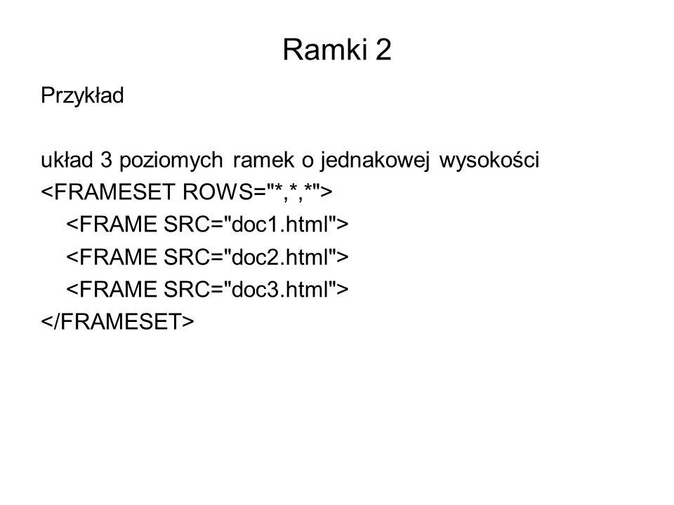 Ramki 2 Przykład układ 3 poziomych ramek o jednakowej wysokości