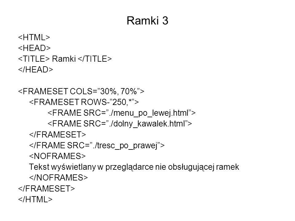 Ramki 3 Ramki Tekst wyświetlany w przeglądarce nie obsługującej ramek