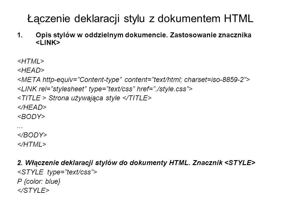 Łączenie deklaracji stylu z dokumentem HTML 1.Opis stylów w oddzielnym dokumencie.