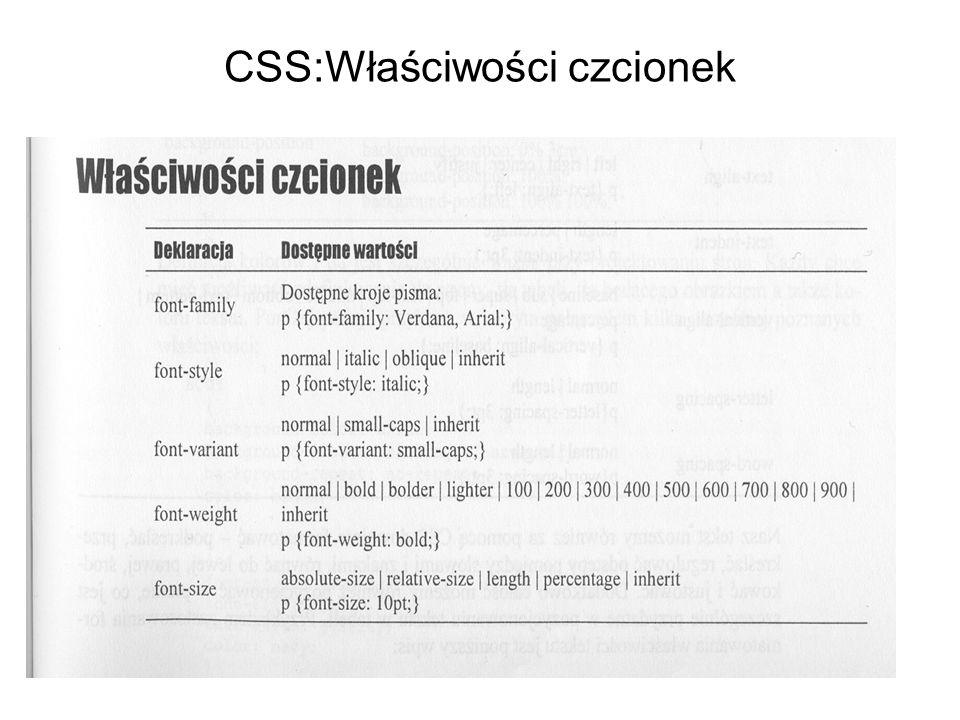 CSS:Właściwości czcionek