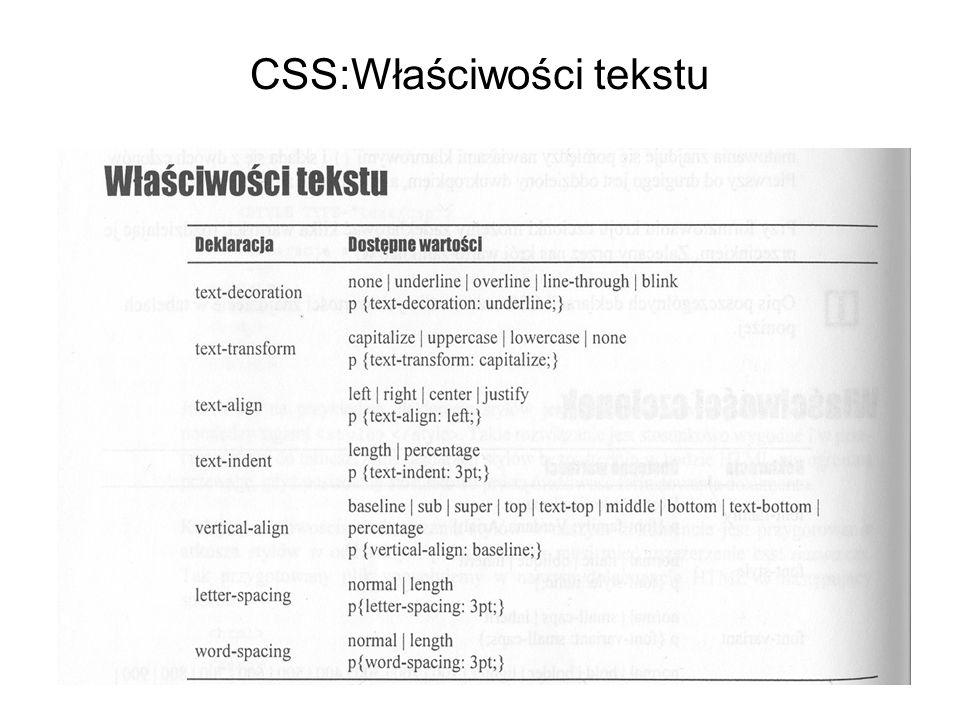 CSS:Właściwości tekstu