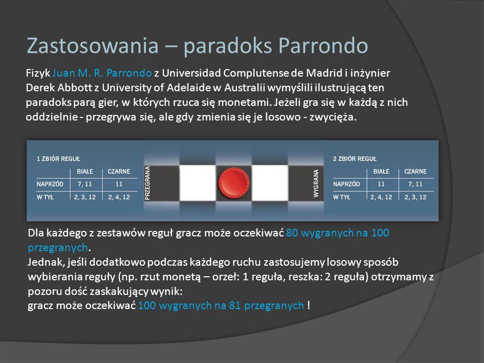 Fizyk Juan M. R. Parrondo z Universidad Complutense de Madrid i inżynier Derek Abbott z University of Adelaide w Australii wymyślili ilustrującą ten p